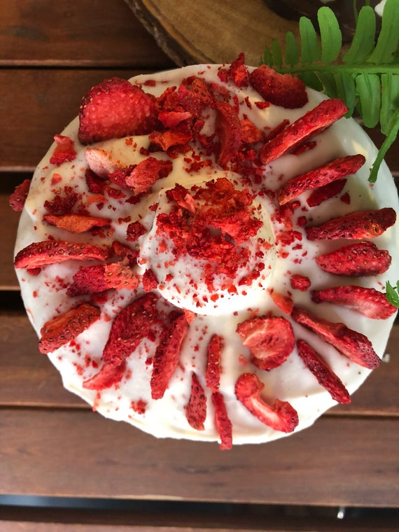 Vegan Vanilla Strawberry birthday Cake  6""