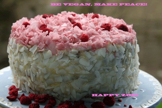 Vegan gluten free Raspberry Dream Vanilla Coconut Cake, love, animal free cruelty,no eggs,no dairy.