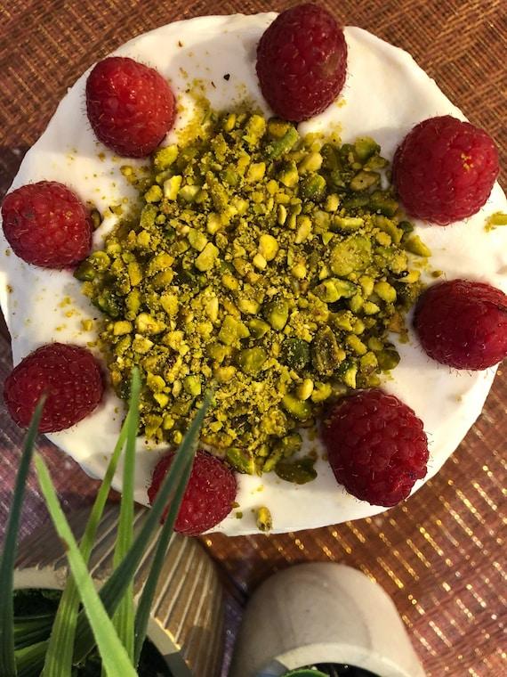 "Vegan  Vanilla pistachio raspberry   birthday Cake  6"""