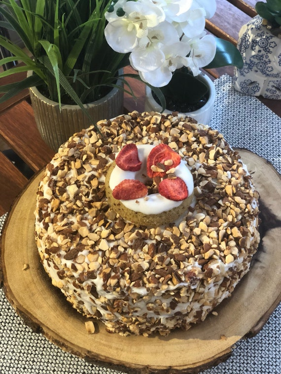 "Vegan vanilla strawberry almond cake 8"" birthday cake!"