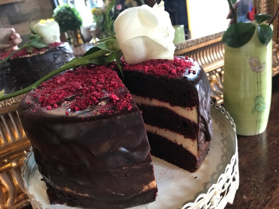 "Vegan Red Velvet  Chocolate Raspberry birthday cake 8"" ,no eggs,no dairy."