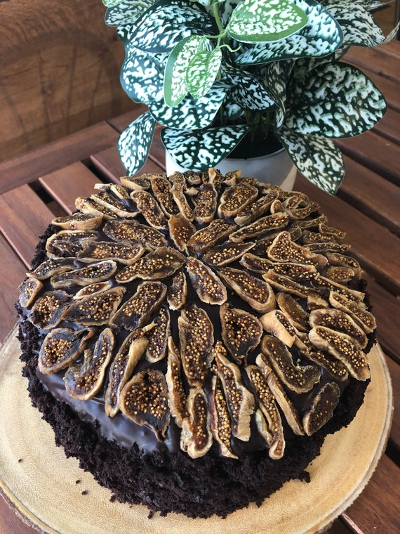 Vegan Chocolate Vanilla Fig cake 8""