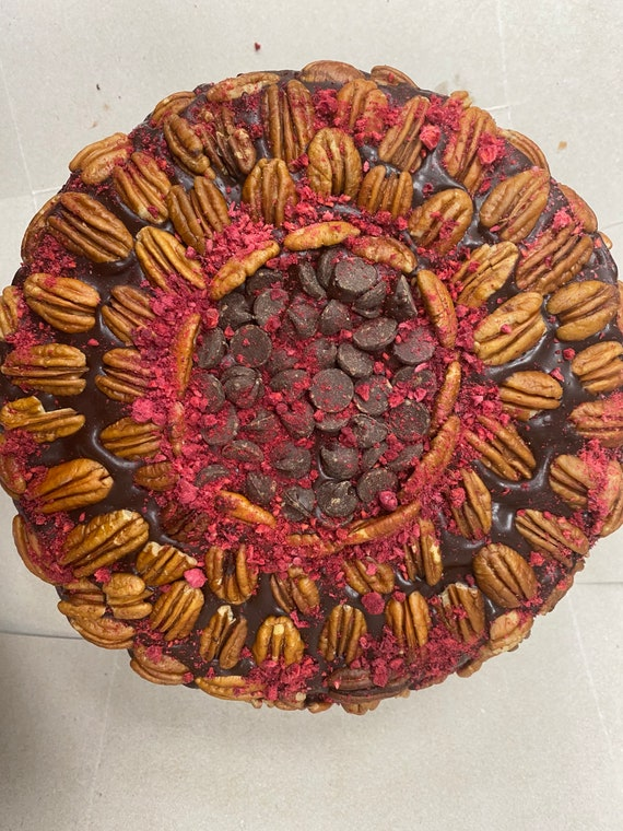 "New Vegan double  chocolate pecan strawberry   cake   8"" dairy free, egg free."