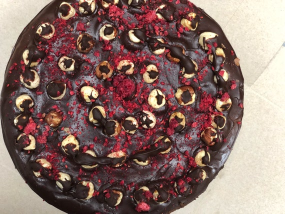 Vegan Dark Chocolate Hazelnut  Raspberry cake!