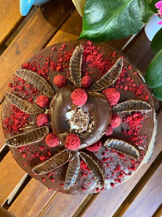 "Vegan Chocolate Vanilla cream raspberry  cake 8"" with donut and jellies on the top   8'' !"