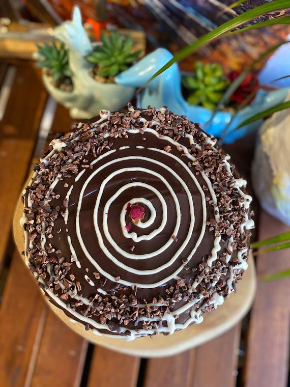 """Vegan double  chocolate plum butter  chocolate cream birthday cake 8""""!"""