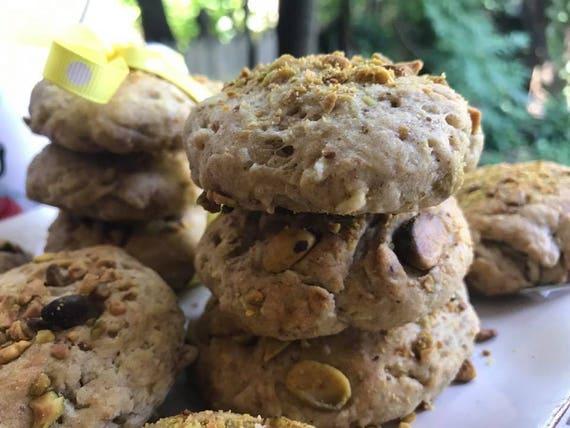 Vegan  Pistachio  cookies 10 pieces! Spelt Flour, Pistachio and Almond Flours! No wheat!