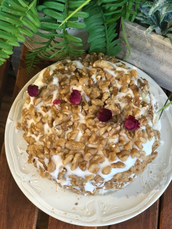 Vegan carrot Walnut birthday Cake  6""