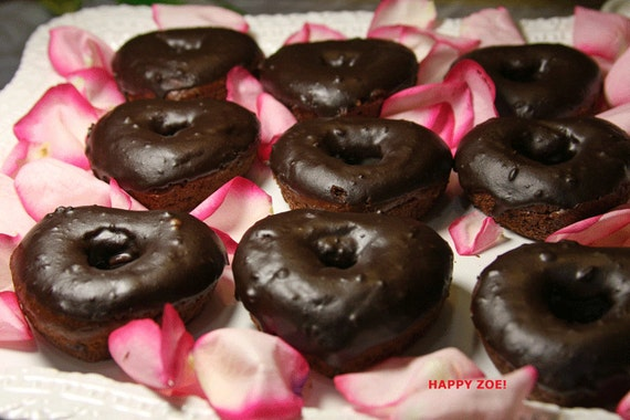 Vegan Gluten free Double  Chocolate Heart donuts 6 pcs. Gluten Free and Dairy Free!
