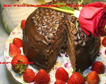 Vegan Double dark chocolate romantic waltz cake, Natural and Healthy ingredients,Love,Birthday,Wedding.