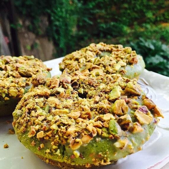 Vegan Gluten free Matcha Green Tea Pistachio Doughnuts  6 pcs
