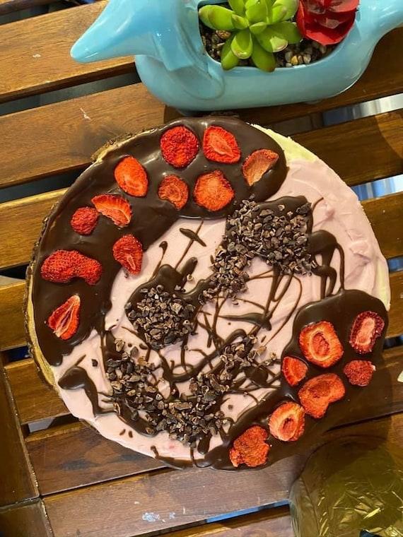 """Vegan Gluten Free Vanilla light  Pink Chocolate chip strawberry    cheesecake  8"""""""