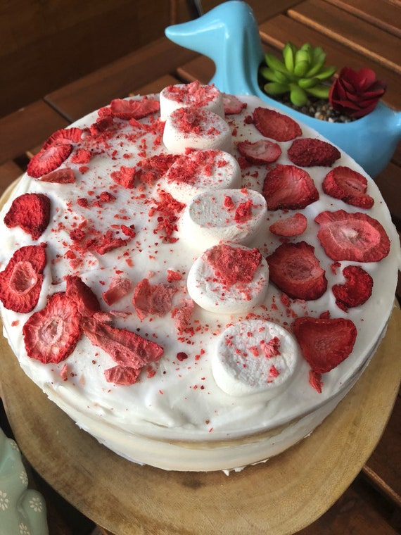 Vegan Vanilla Strawberry Marshmallow shortcake birthday cake!