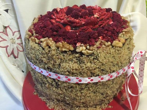 Vegan Vanilla Walnut Raspberry Strawberry cake, love, animal free cruelty,no eggs,no dairy.