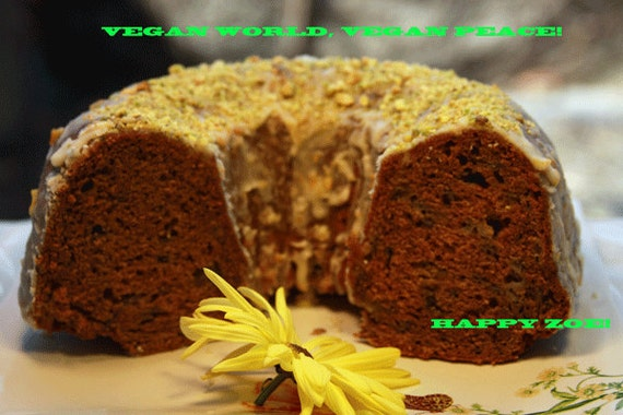 Vegan Cardamom Cinnamon Apple Bundt cake and lemon pistachio glaze,Vegan,Healthy,Wedding