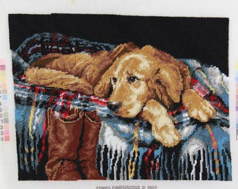 Needlepoint Tapestry wall hanging Golden Retriever Puppy Cotton Canvas Fiber Art Upcycled needlepoint collage