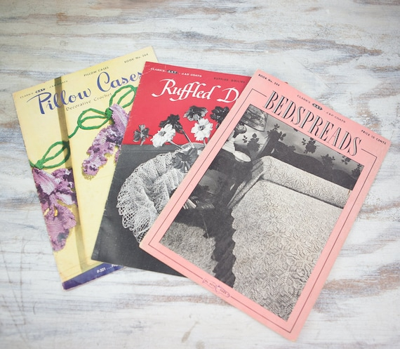 Coats And Clark Vintage Crochet Pattern Books Bead Spreads Etsy