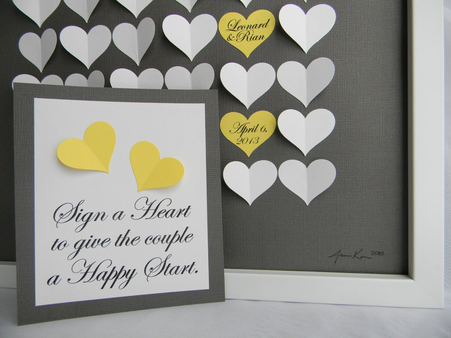 How Much To Pay For A Wedding Gift: Modern Guestbook For A Wedding. Personalized Shadowbox