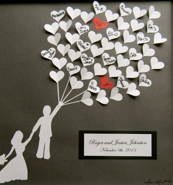 Wedding Gift For Your Bride: Wedding Guest Book Alternative 3D Paper Hearts Lovely