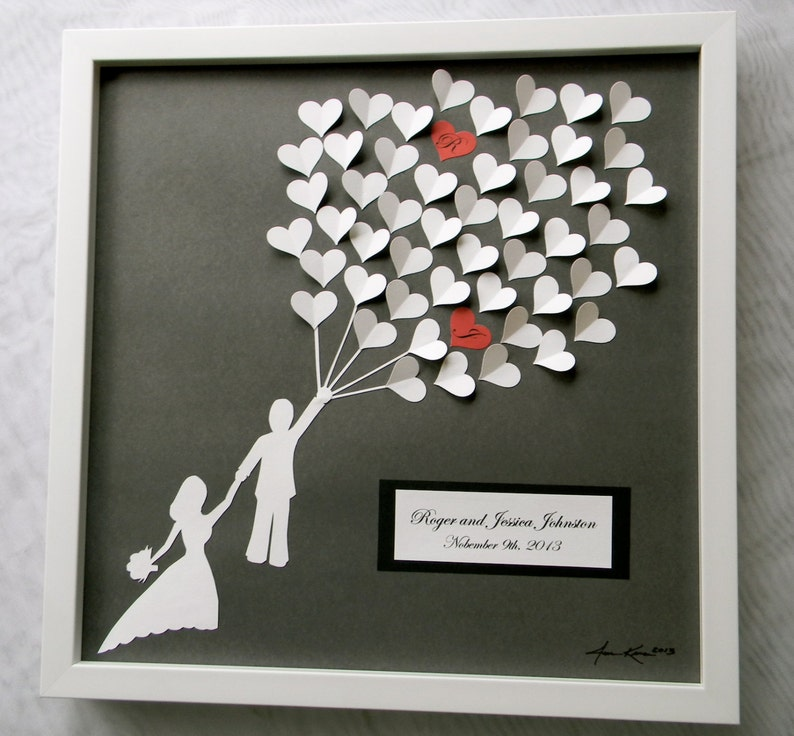 Wedding guest book alternative 3D paper hearts lovely bridal image 0