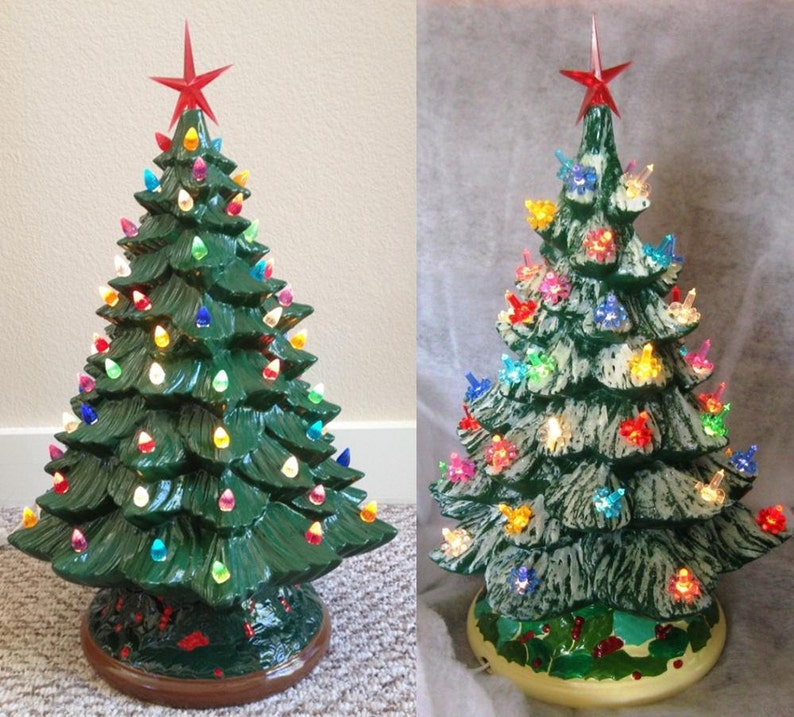 Unpainted Ceramic Bisque Christmas Tree Kit Diy 20 Tall W Base 14 Unpainted Ready To Paint Tree Bulbs Star Light Kit Included