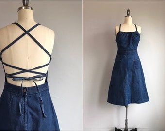 77d60a4e8c Vintage 1970s Denim Sundress   70s Indigo Blue Back Halter Dress