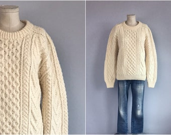 4eb321afa33f Vintage Hand Knit Wool Fisherman Sweater   1980s Cream Knit Cable Pullover