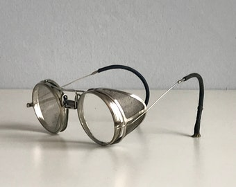 19a2e0e893 Vintage 1910s Wellsworth Silver Goggles   10s Collapsible Folding  Spectacles Clear Lenses   Steampunk Eyeglasses