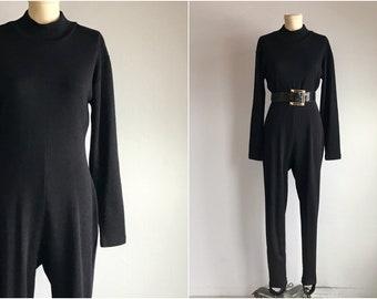 39ba4c694f1b Vintage 80s Knit Jumpsuit   1980s Wool Jersey Stirrup Pant Catsuit Onesie  with Mock Neck