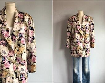 48310ec48 Vintage 80s Silk Jacket / 1980s Floral Print Silk Jacket / Cabbage Rose  Oversized 80s Fashion