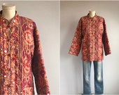 Vintage 70s Ramona Rull Quilted Jacket 1970s India Block Print Cotton Floral Print Jacket Mirror Embroidery