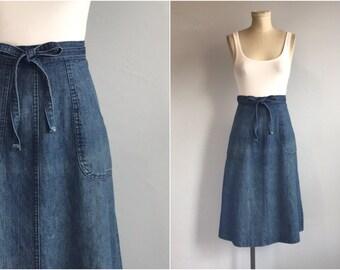 e58bbbf6a8 Vintage 70s Wrap Skirt / 1970s Indigo Denim ALine Midi Skirt / Jean Skirt