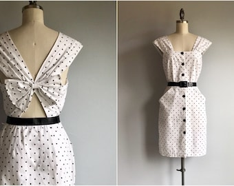 446366f9235 Vintage 80s Dress   1980s Black and White Polka Dot Peek a Boo Sundress  with Bow
