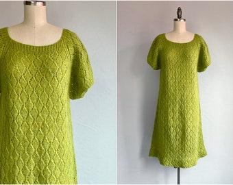 Vintage 60s Hand Knit Dress /  1960's Lime Green Wool Blend Lace Pointelle Knit Dress / Sheer Sweater Dress