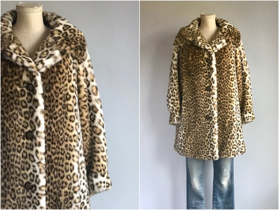Vintage 60s Leopard Faux Fur Coat / 1960s Animal P