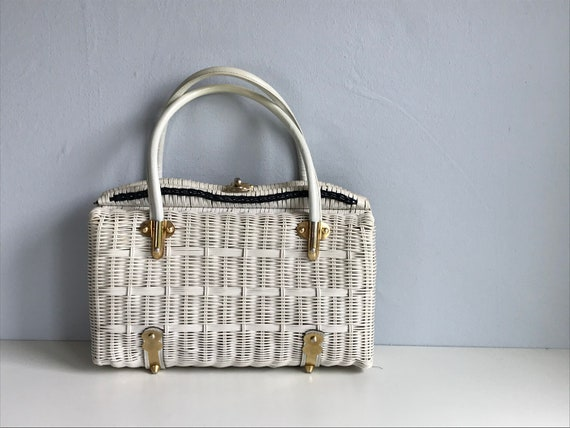 Vintage Wicker Handbag / 1960s Large White Woven B