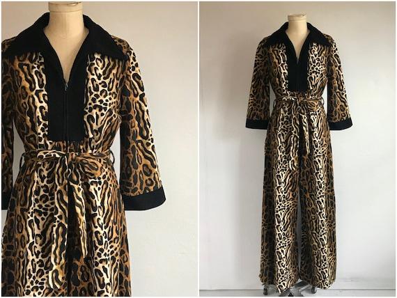 Vintage 60s Animal Print Jumpsuit / 1960s Leopard