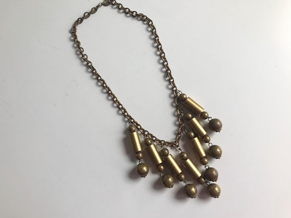 Vintage 30s Brass Necklace / 1930s Beaded Brass Fr