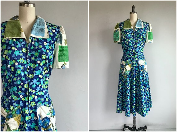 Vintage 40s Upcycled Dress / 1940s Blue Green Cott