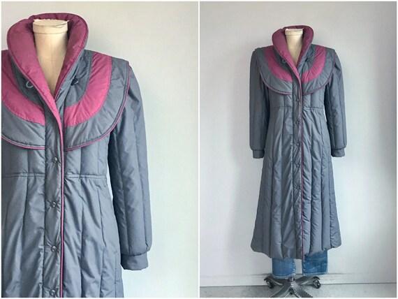 Vintage 80s Down Coat / 1980s Grey Patchwork Quilt