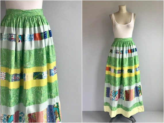 Vintage 1970s Maxi Skirt / 1970s Patchwork Multi C
