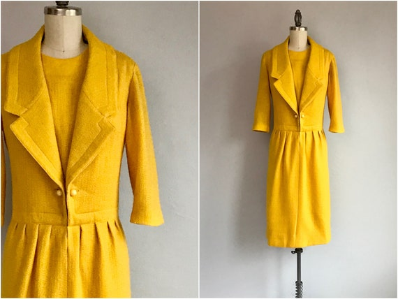 Vintage 50s Nina Ricci Wool Dress / 1950s Marigold