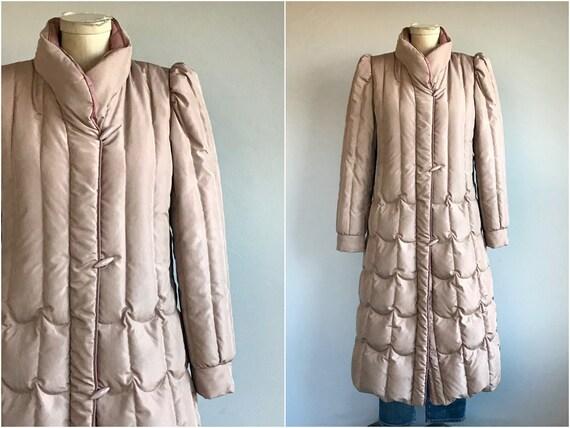 Vintage 80s Down Coat / 1980s Mauve Pink Quilted L