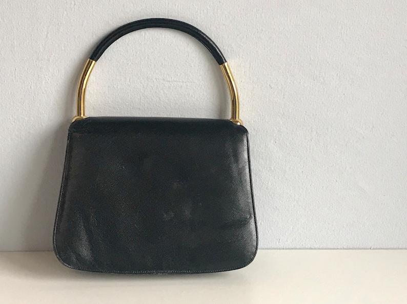 Vintage 50s MM Morris Moskowitz Handbag   1950s Black Leather  8feb2c759038f