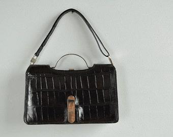Vintage Alligator Bag / 1960s Mod Black and Silver Crocodile Convertible Handbag Clutch
