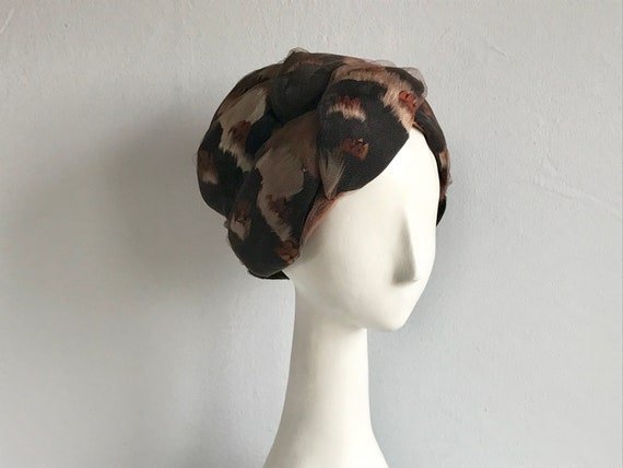 939ebb3a9b6 Vintage 60s Christian Dior Hat   1960s Cocoa Brown Black
