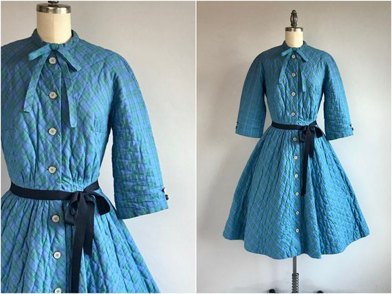 Vintage 60s Lanz Quilted Dress / 1960s Blue Cotton