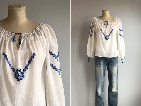 Vintage Peasant Blouse / 1960s Hand Embroidered Wh