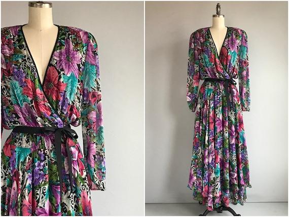 Vintage 80s Diane Freis Dress / 1980s Beaded Silk