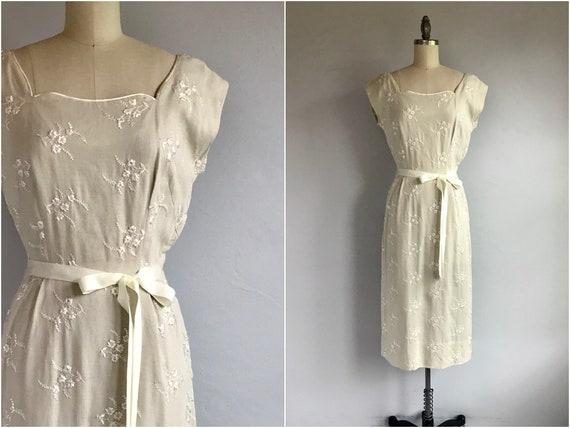 Vintage 50s Embroidered Linen Dress / 1950s Nardis